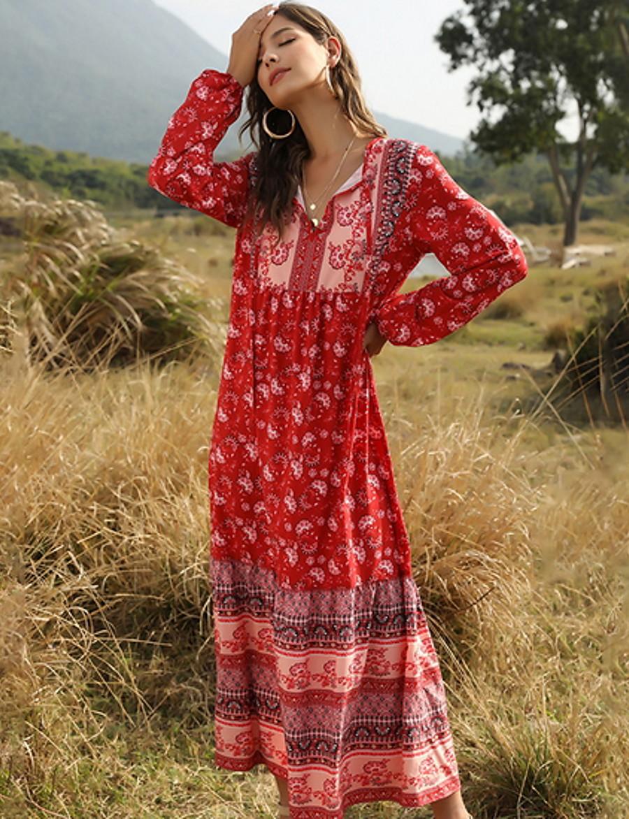 Women's A-Line Dress Maxi long Dress - Long Sleeve Geometric V Neck Red Light Green S M L XL
