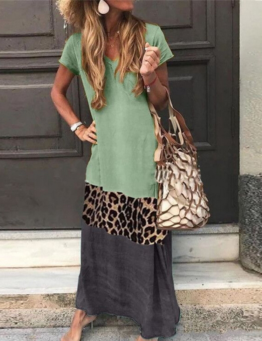 Women's Shift Dress Maxi long Dress - Short Sleeves Leopard Color Block Summer V Neck Casual Vacation Holiday 2020 Black Orange Green Gray S M L XL XXL XXXL XXXXL XXXXXL
