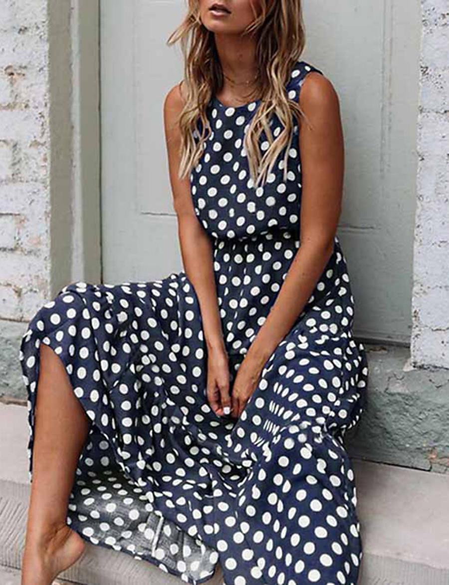 Women's Maxi Swing Dress - Sleeveless Polka Dot Spring & Summer Elegant Slim 2020 Black Yellow Navy Blue Khaki Green S M L XL XXL