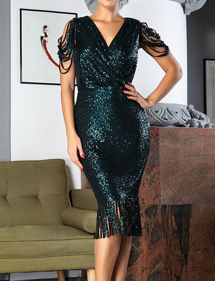 Women's Sheath Dress Knee Length Dress - Short Sleeve Solid Color V Neck Black Blushing Pink Wine Gold Green S M L XL XXL