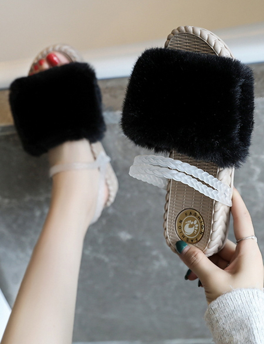 Women's Slippers & Flip-Flops Fuzzy Slippers Summer Flat Heel Round Toe Daily PU Black / Khaki / Green