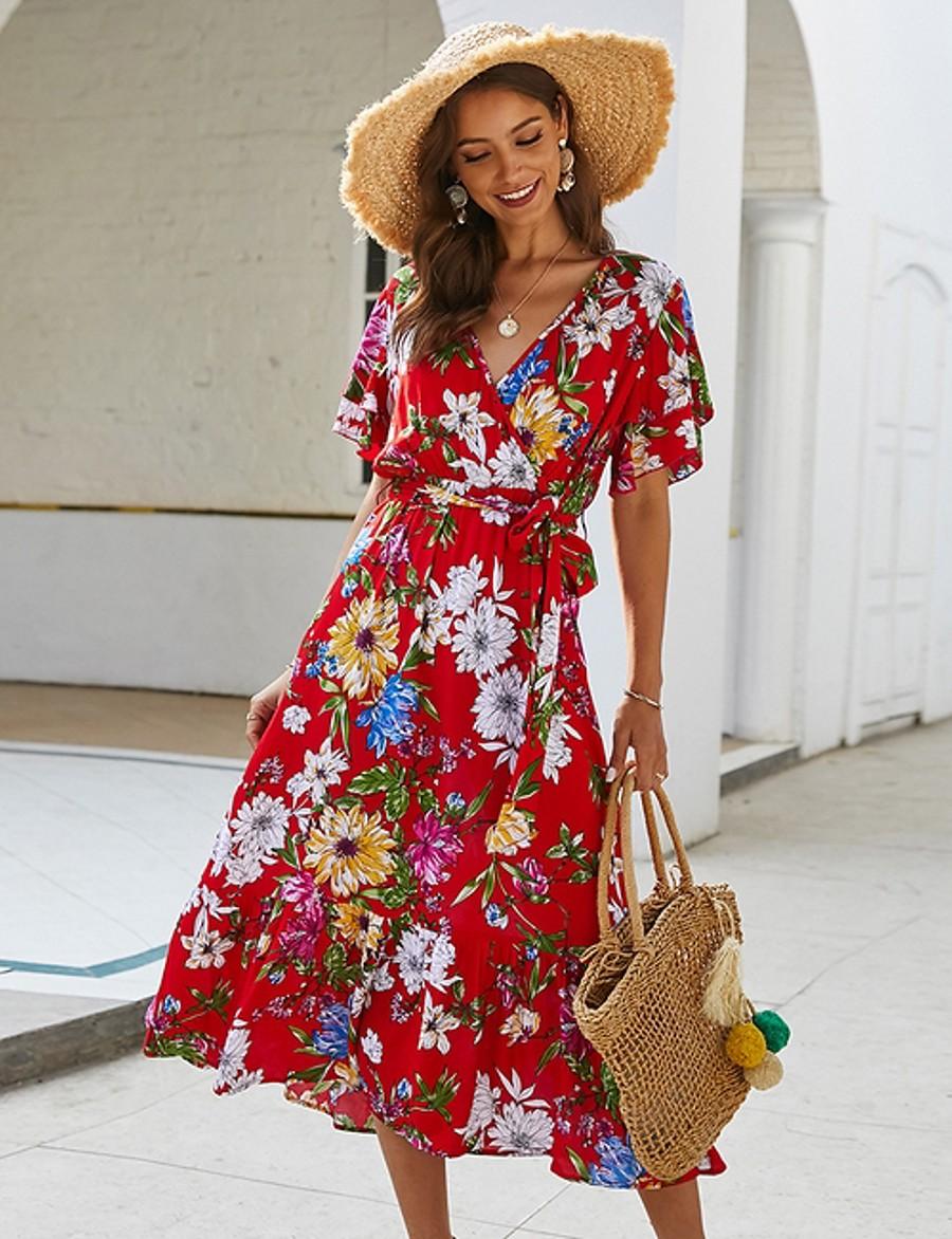 Women's Wrap Dress Midi Dress - Short Sleeve Floral Print Summer V Neck Holiday Black Red Yellow S M L XL