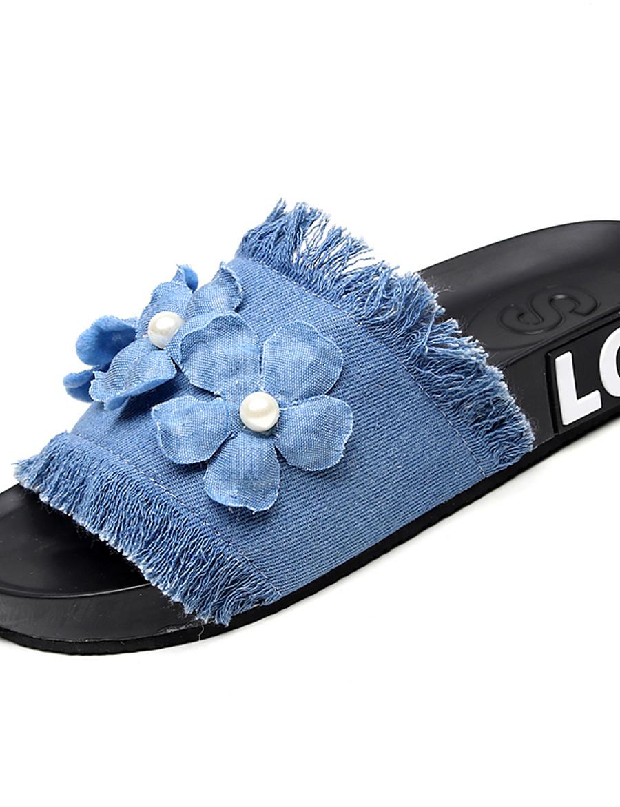 Women's Slippers & Flip-Flops Flat Heel Open Toe Satin Flower Canvas / Denim Classic / Casual Walking Shoes Summer Dark Blue / Light Blue