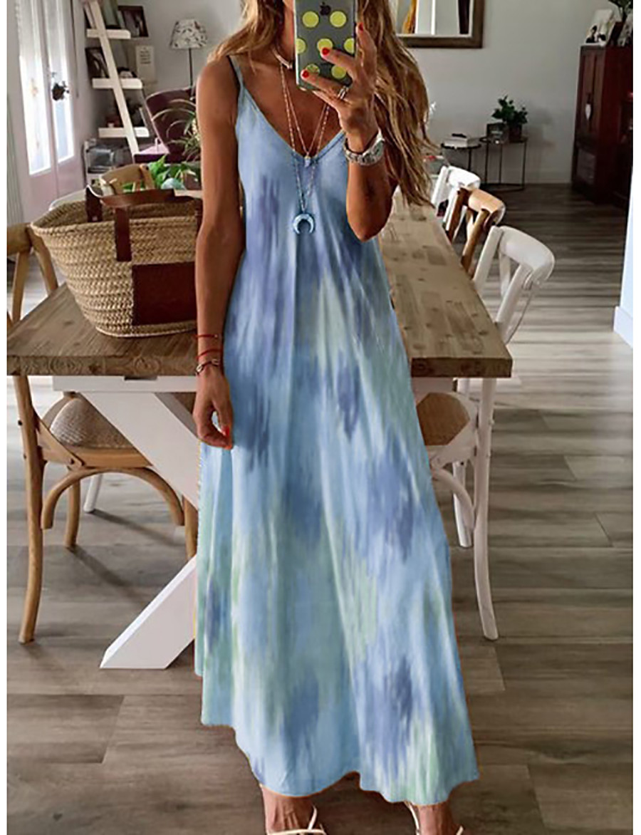 Women's Maxi A Line Dress - Sleeveless Print Summer Strap Plus Size Causal Holiday Vacation Loose White Purple Red Yellow Blushing Pink Green Navy Blue Light Blue S M L XL XXL XXXL XXXXL XXXXXL
