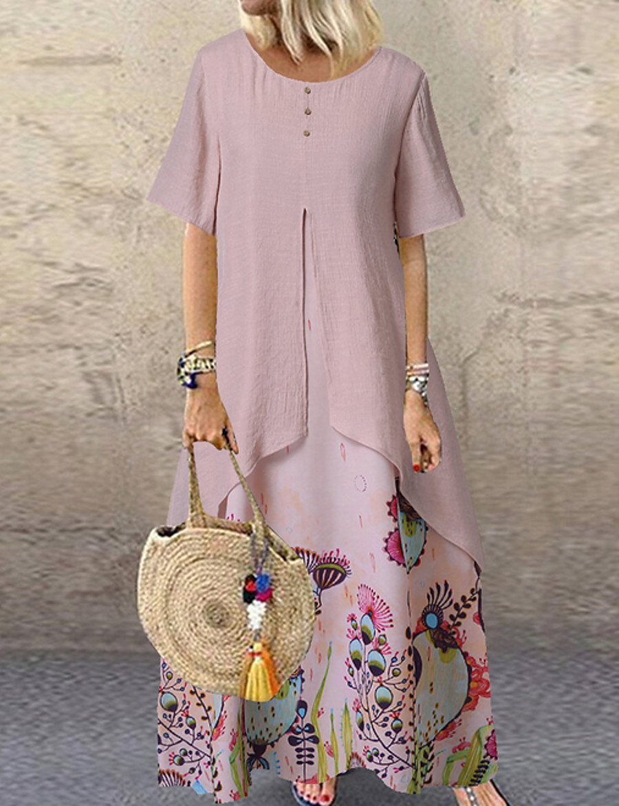 Women's Maxi Swing Dress - Short Sleeves Geometric Loose Blushing Pink Green Beige M L XL XXL XXXL XXXXL