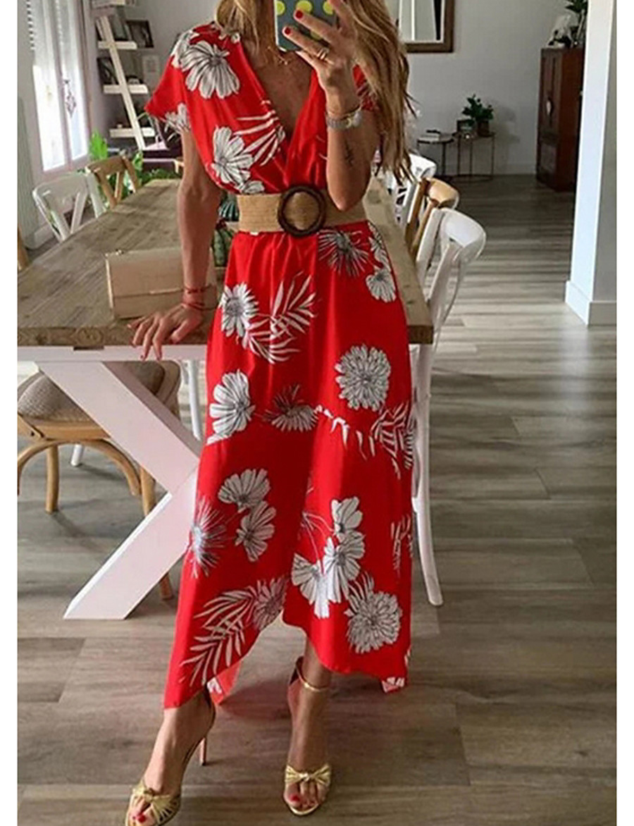 Women's Maxi A Line Dress - Short Sleeves Print Floral Spring Summer V Neck Beach Belt Not Included Blue Red Yellow Green S M L XL XXL