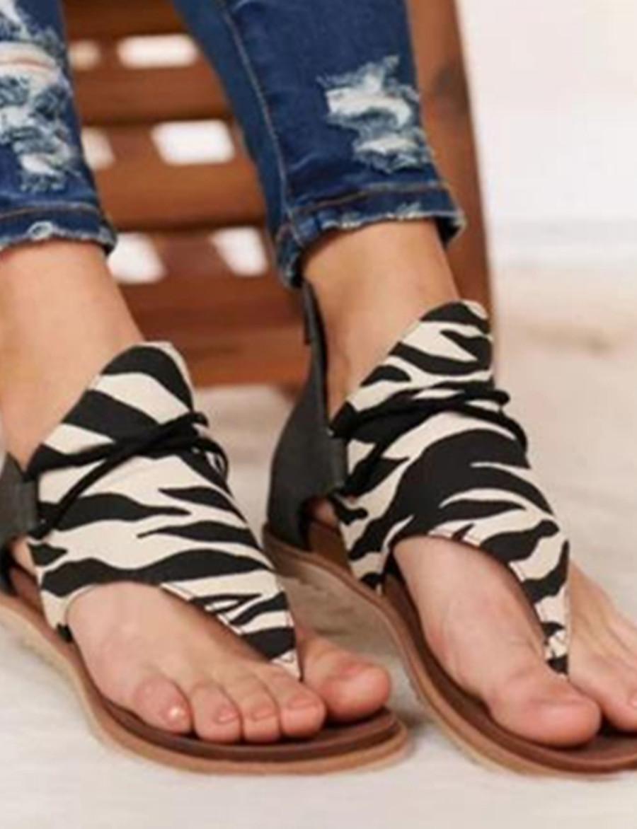 Femme Sandales Sandales plates Chaussures d'impression Talon Plat Bout ouvert Classique Quotidien Daim Léopard Serpent Noir / blanc Brun claire Léopard