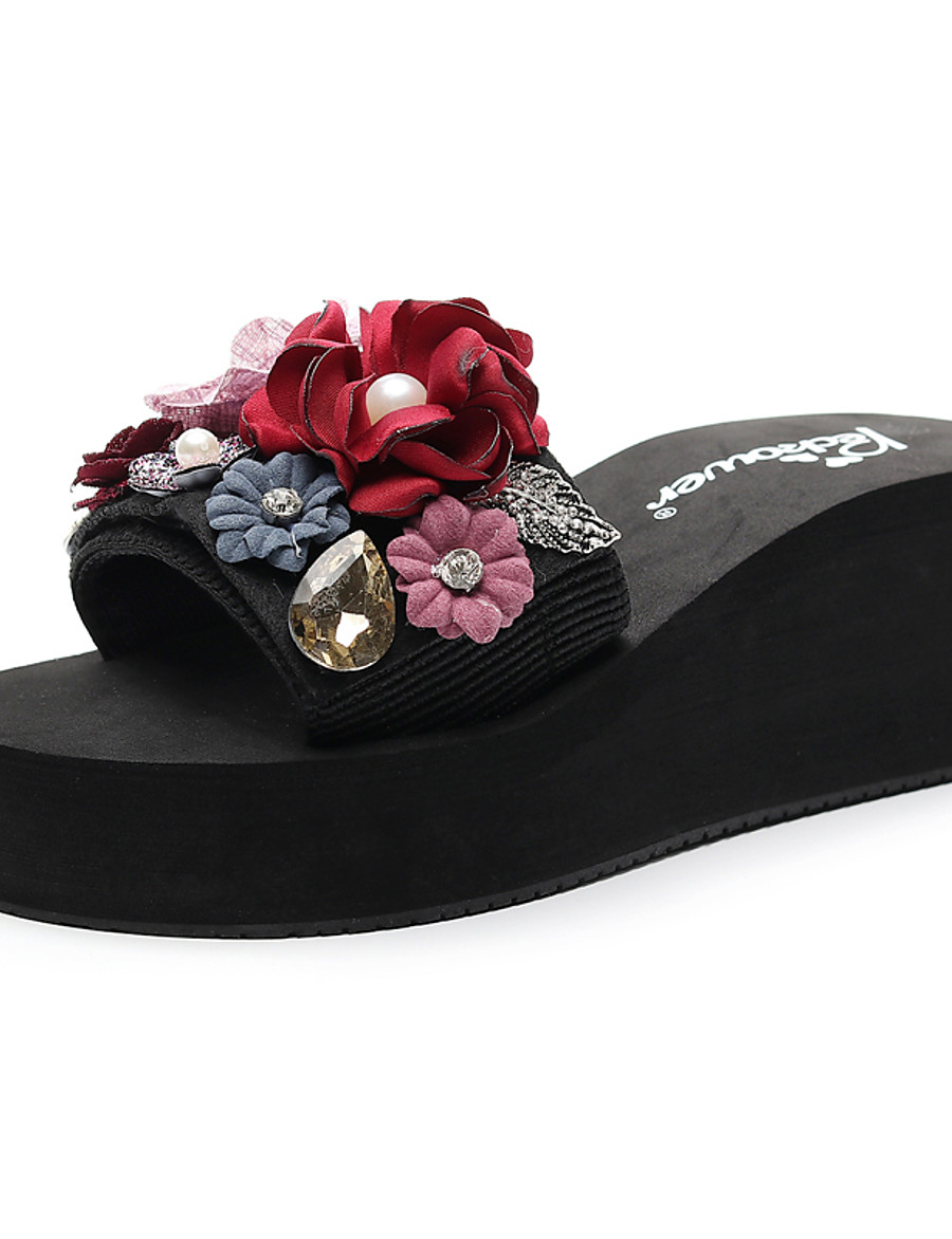 Women's Slippers & Flip-Flops Wedge Heel Open Toe Rhinestone / Imitation Pearl / Satin Flower Polyester Sweet / Chinoiserie Walking Shoes Summer Red / Pink / Dark Blue / Color Block