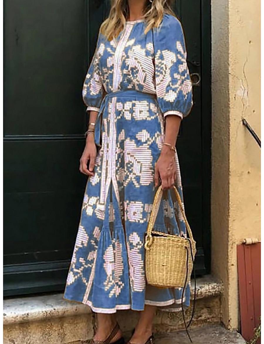 Women's Maxi A Line Dress - Half Sleeve Print Purple Yellow Blushing Pink Light Blue S M L XL XXL XXXL
