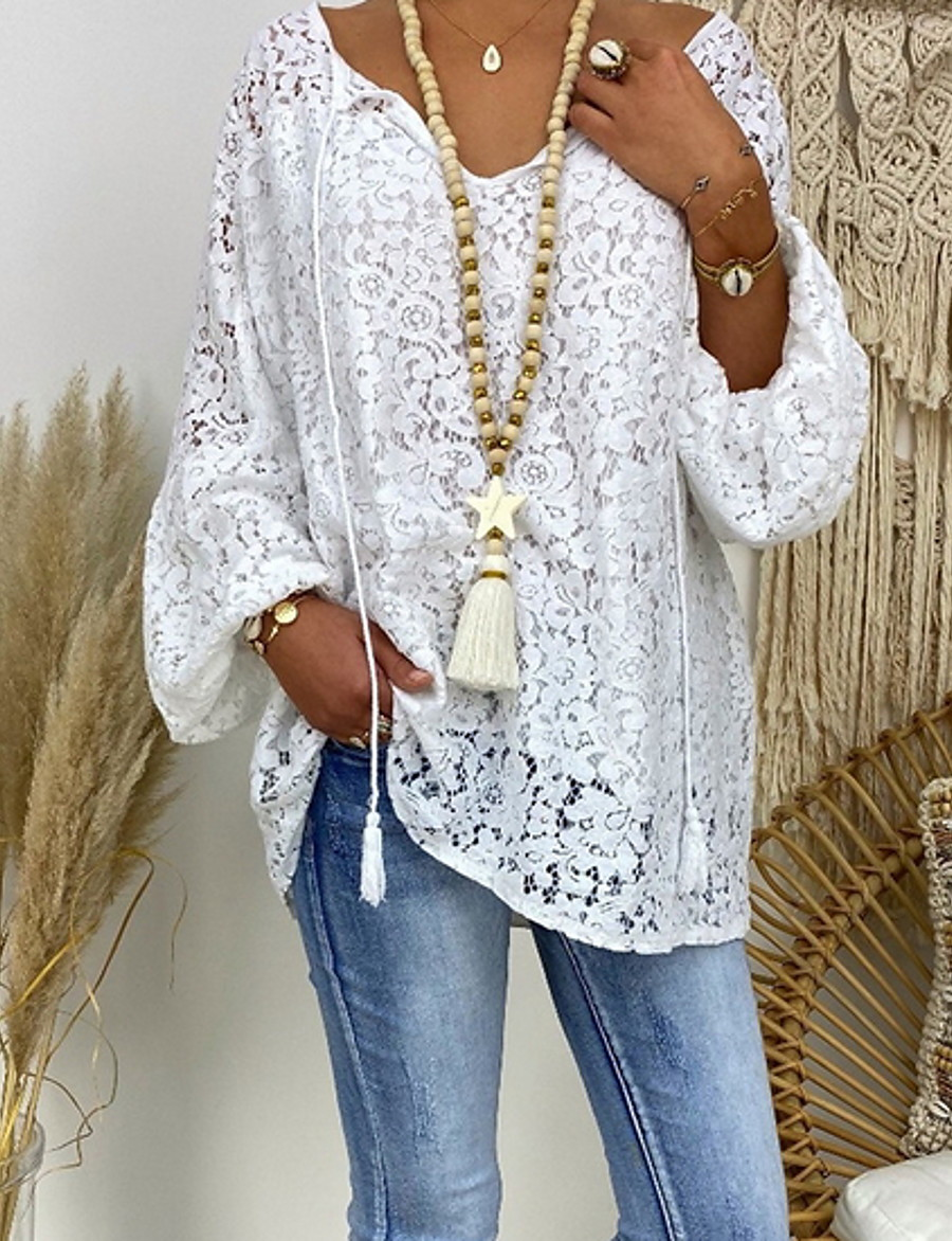 Women's Daily Casual Lace Loose Blouse - Floral Lace / Hollow Out V Neck White / Spring / Summer