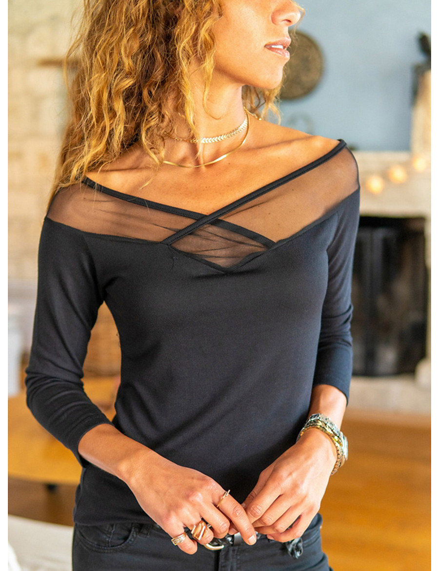 Women's Daily T-shirt - Solid Colored V Neck Black
