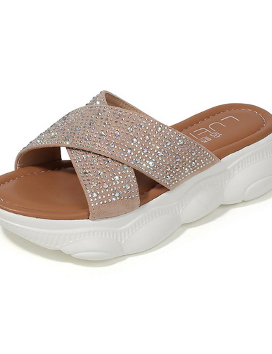 Women's Slippers & Flip-Flops Flat Heel Round Toe PU Spring & Summer Black / Khaki