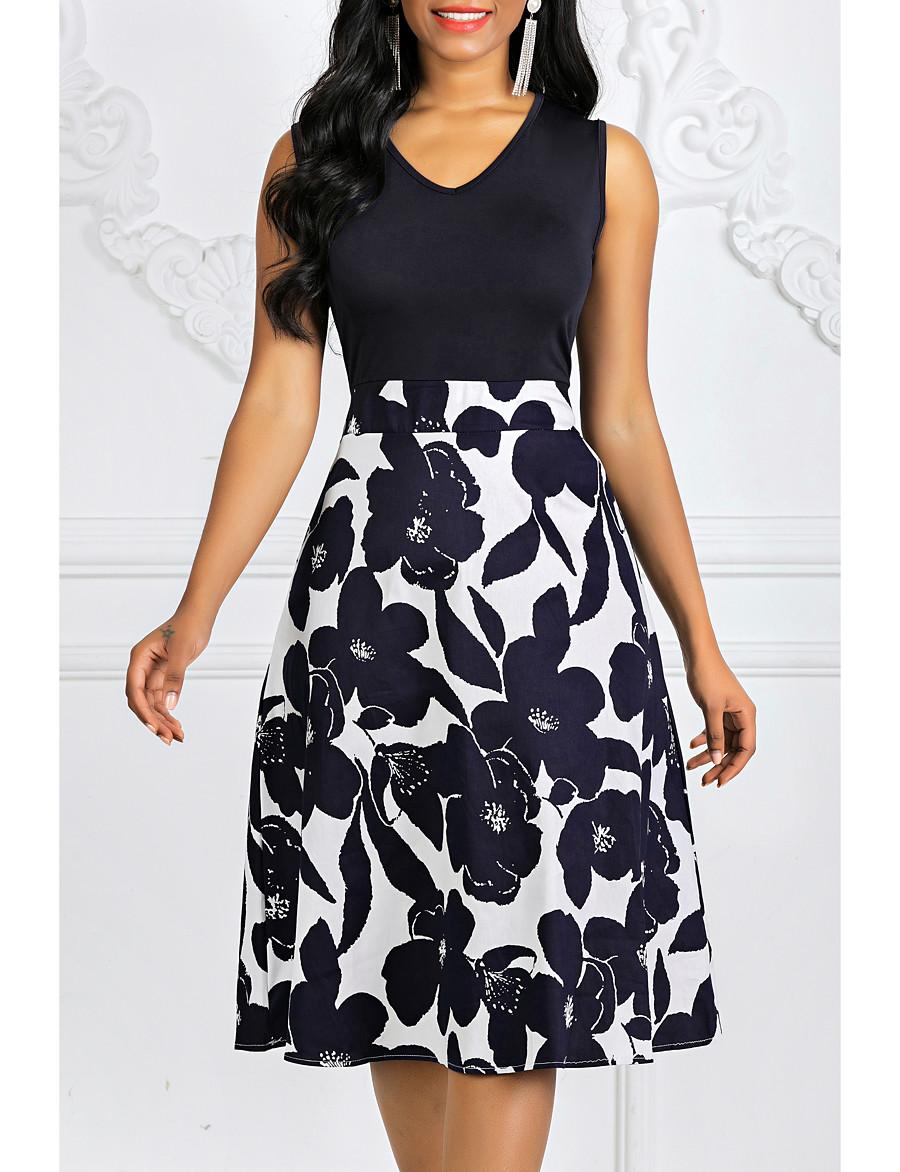 Women's Plus Size Going out Vintage A Line Dress - Floral Print Spring Cotton Navy Blue S M L XL