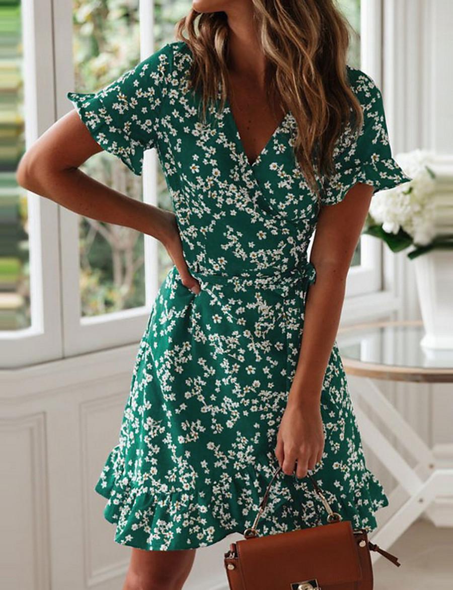 Women's A Line Dress - Short Sleeves Floral Deep V Green Navy Blue S M L XL XXL
