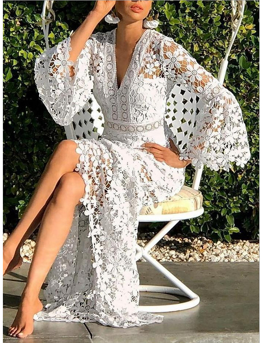 Women's Sheath Dress Maxi long Dress - Long Sleeve Solid Color V Neck White S M L XL XXL XXXL