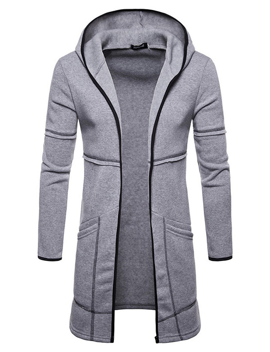 Men's Daily Fall & Winter Long Coat, Solid Colored Hooded Long Sleeve Polyester Black / Wine / Green