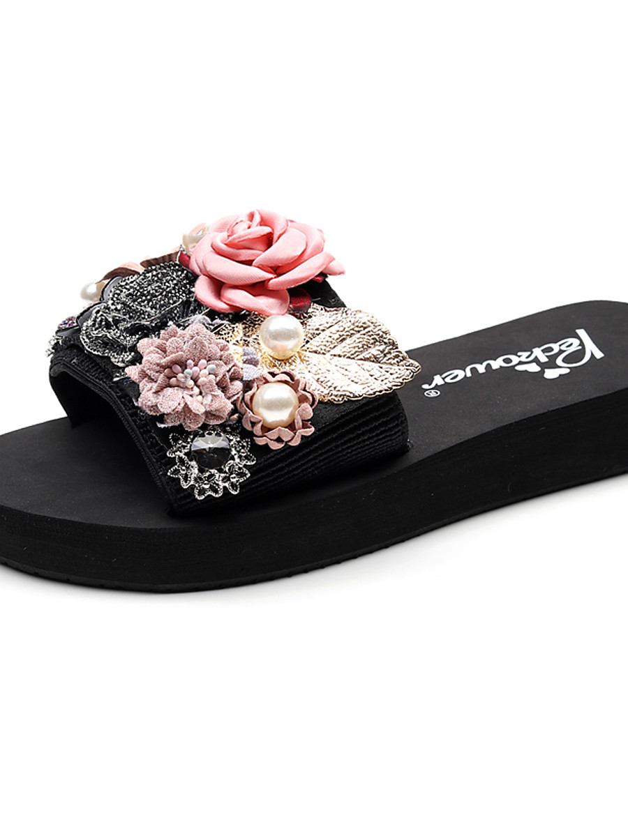 Women's Slippers & Flip-Flops Boho / Beach Flat Heel Open Toe Imitation Pearl / Satin Flower / Stitching Lace Polyester Classic / Casual Walking Shoes Summer Red / Pink / Light Grey / Party & Evening