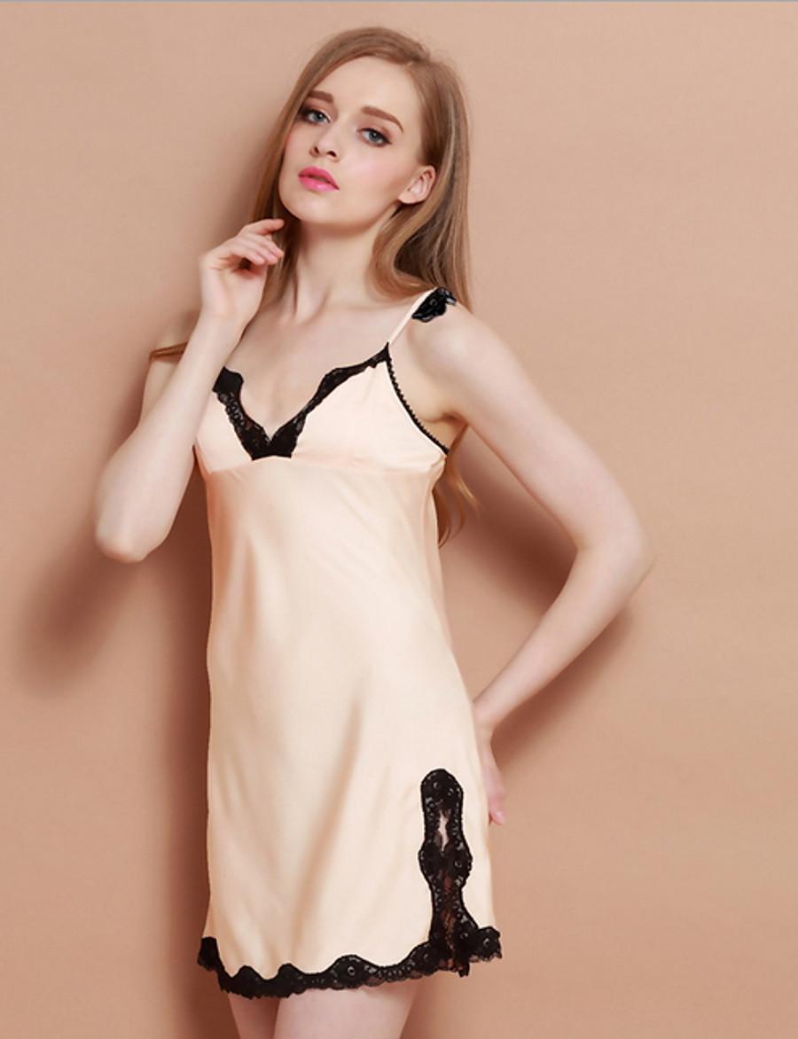 Women's Babydoll & Slips Nightwear Blushing Pink Beige S M L