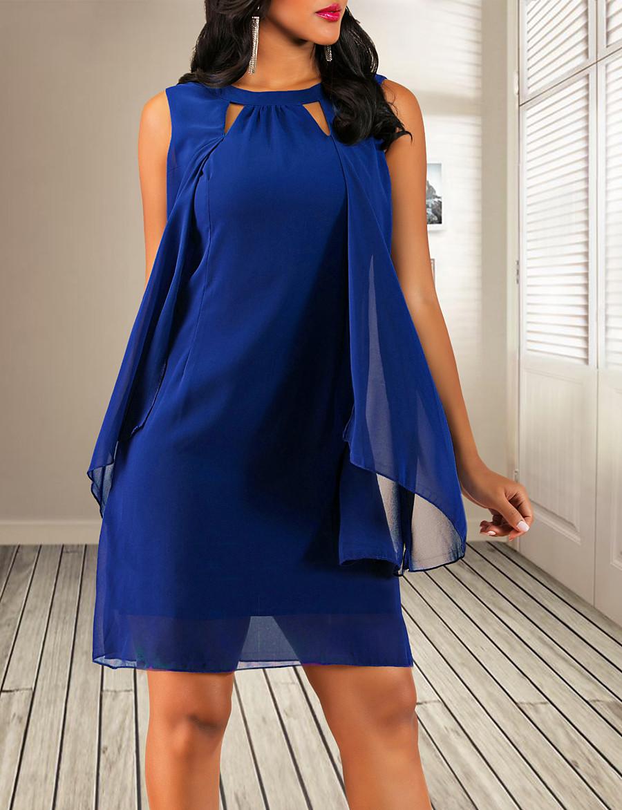 Women's Sheath Dress Short Mini Dress - Sleeveless Solid Colored Chiffon Navy Blue S M L XL XXL 3XL 4XL 5XL