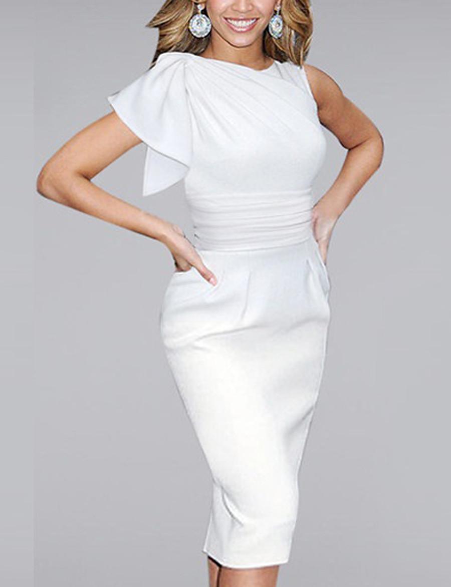 Women's Shift Dress Knee Length Dress - Sleeveless Ruffle Spring Summer Elegant Hot Sophisticated White Black Blue Red S M L XL XXL 3XL