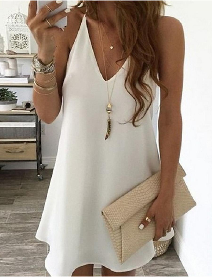 Women's Strap Dress Short Mini Dress - Sleeveless Solid Color White Black Blue Yellow Blushing Pink Light Blue S M L XL XXL 3XL 4XL 5XL