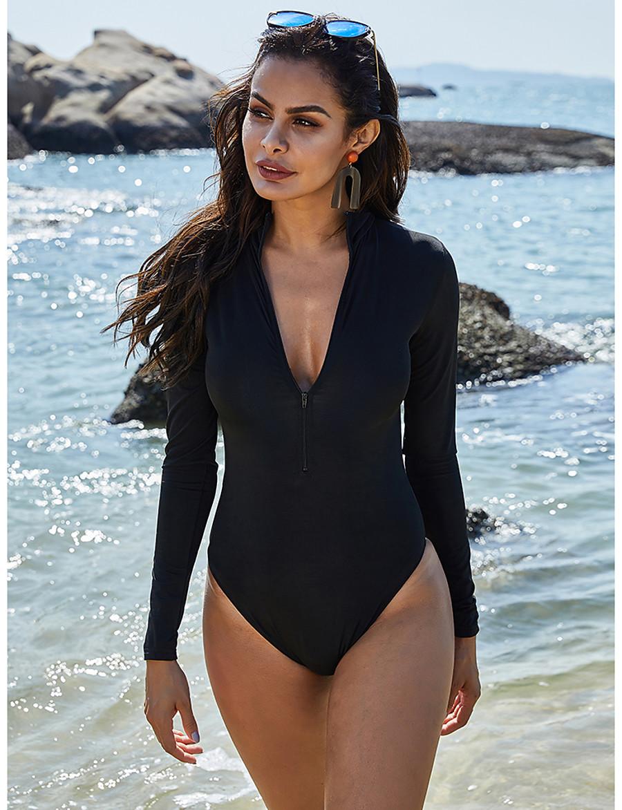 Women's One Piece Swimsuit Tummy Control Slim Normal V Neck Swimwear Bathing Suits Black
