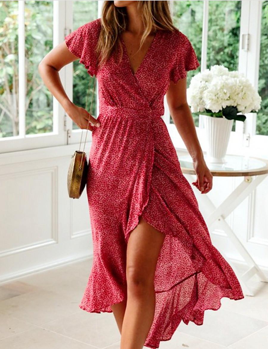 Women's Yellow Red Dress Sheath Print V Neck S M