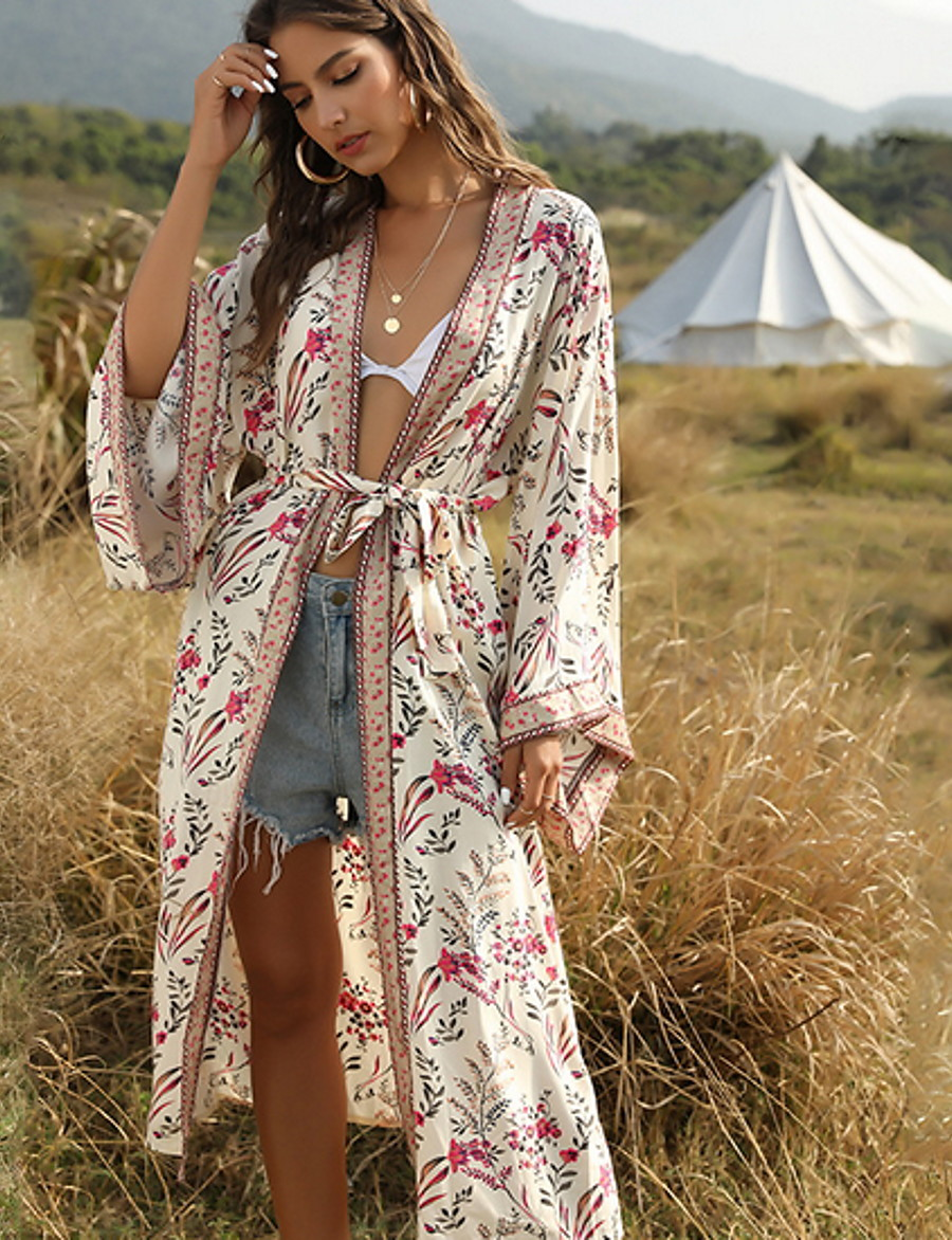 Women's V Neck Cloak / Capes Long Geometric Daily Green Beige One-Size