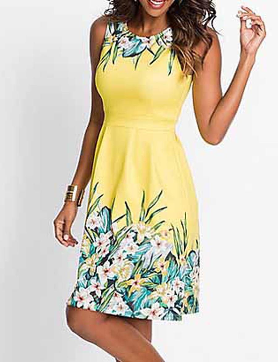 Women's A Line Dress - Sleeveless Floral Print Spring & Summer Elegant 2020 Blue Yellow Fuchsia S M L XL XXL