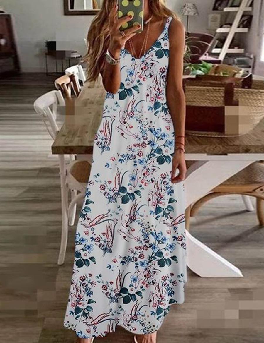 Women's A-Line Dress Maxi long Dress - Sleeveless Floral Summer V Neck Plus Size Holiday Beach vacation dresses Rainbow White Black Blue Yellow Wine Fuchsia Green Navy Blue Green / White S M L XL XXL