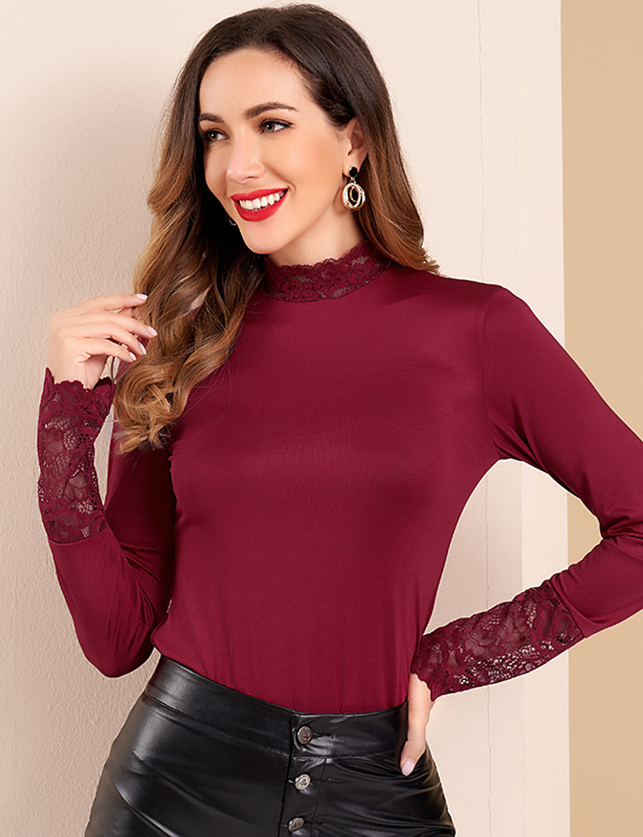 Women's Daily Blouse Solid Colored 3/4 Length Sleeve Slim Tops Basic Elegant Wine