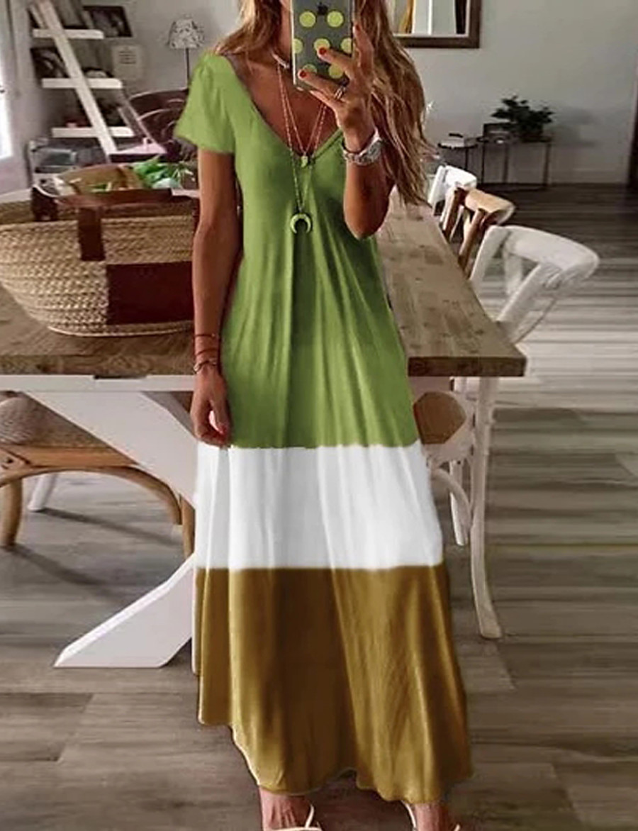 Women's Swing Dress Blue & White Maxi long Dress - Short Sleeves Color Block Basic V Neck Casual Boho Daily Holiday Loose Blue Red Green Brown Gray S M L XL XXL XXXL