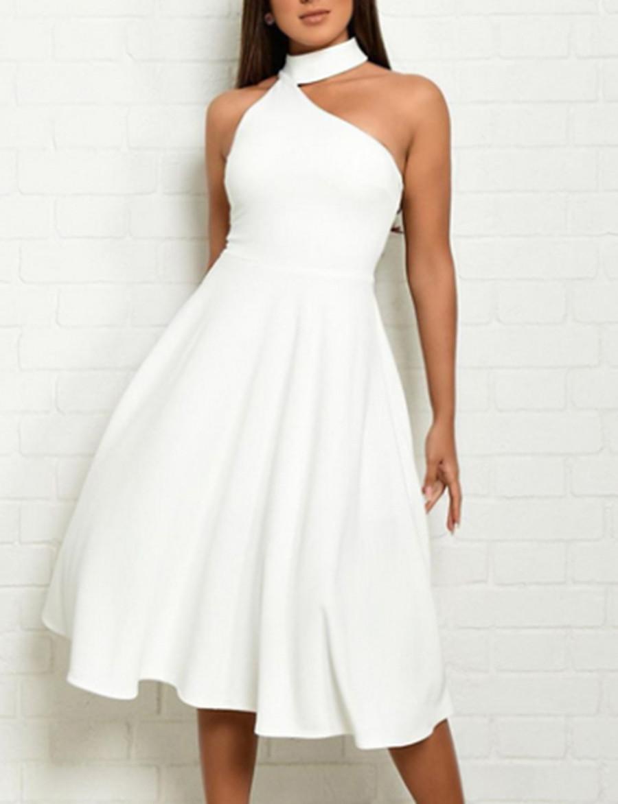 Women's Sheath Dress Midi Dress - Sleeveless Solid Colored Halter Neck Elegant Hot Slim White Red S M L XL