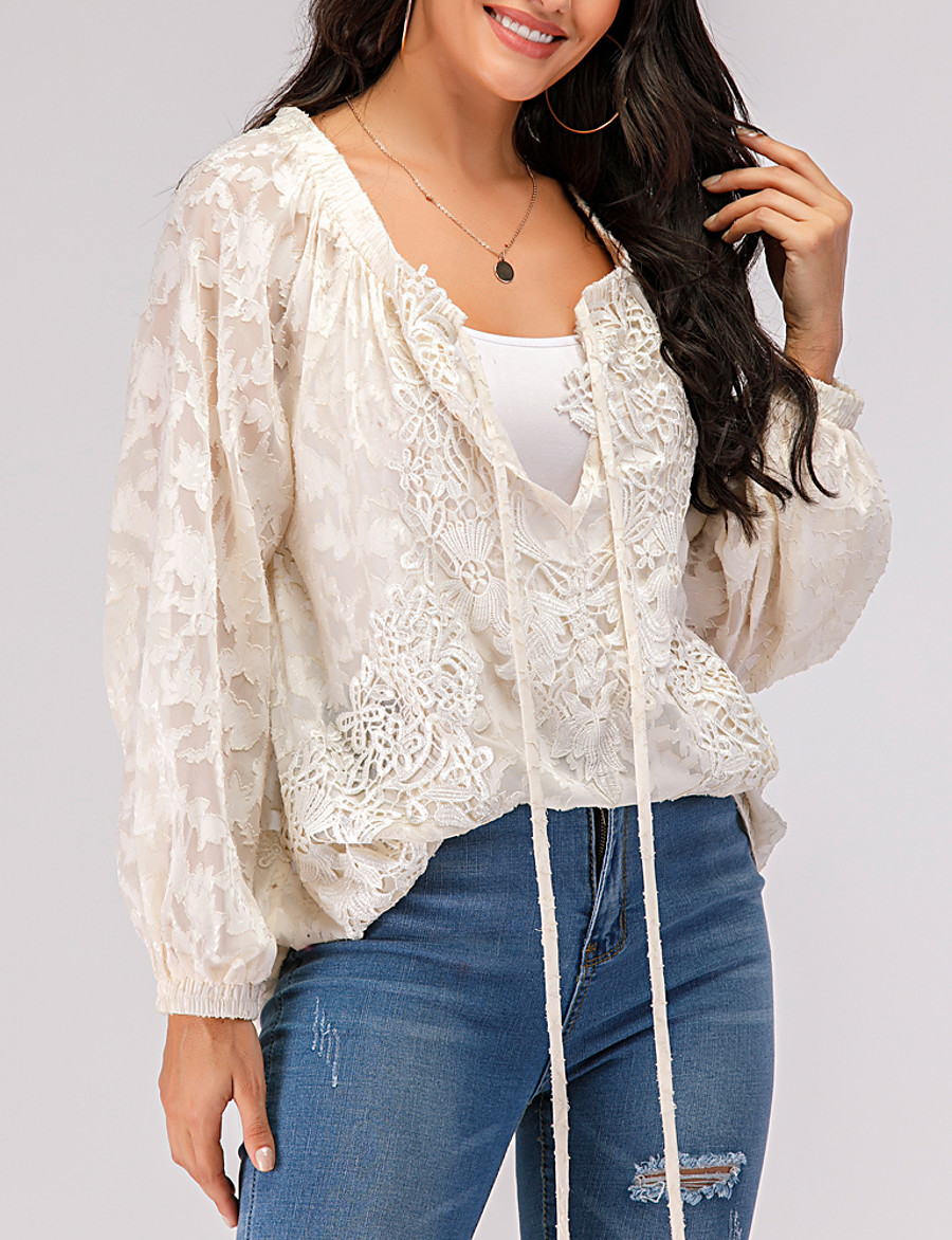 Women's Daily T-shirt Solid Colored Lace Mesh Lace up Long Sleeve Tops Lace V Neck Beige