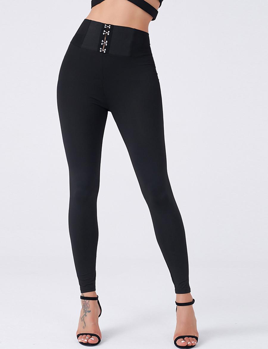 Women's Legging High Waist Solid Color Skinny Pants