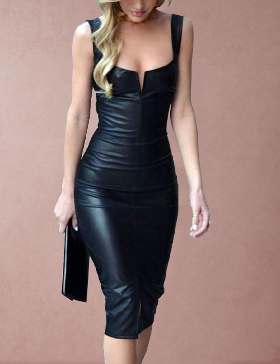 Women's 2020 Black Dress Sexy Spring & Summer Party Bodycon Sheath Solid Color Camisole Deep U Plastic Drop S M