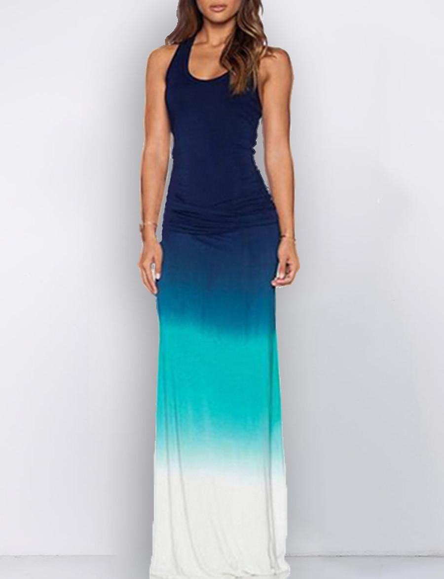 Women's Maxi Sheath Dress - Sleeveless Color Block U Neck Slim Blue S M L XL XXL XXXL XXXXL XXXXXL XXXXXXL