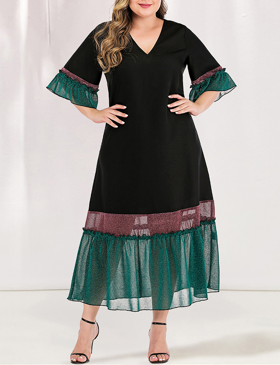 Women's A-Line Dress Maxi long Dress - Short Sleeve Blue & White Black & Red Solid Color Color Block Pleated Patchwork V Neck Plus Size Elegant Casual Flare Cuff Sleeve Loose Green L XL XXL 3XL 4XL