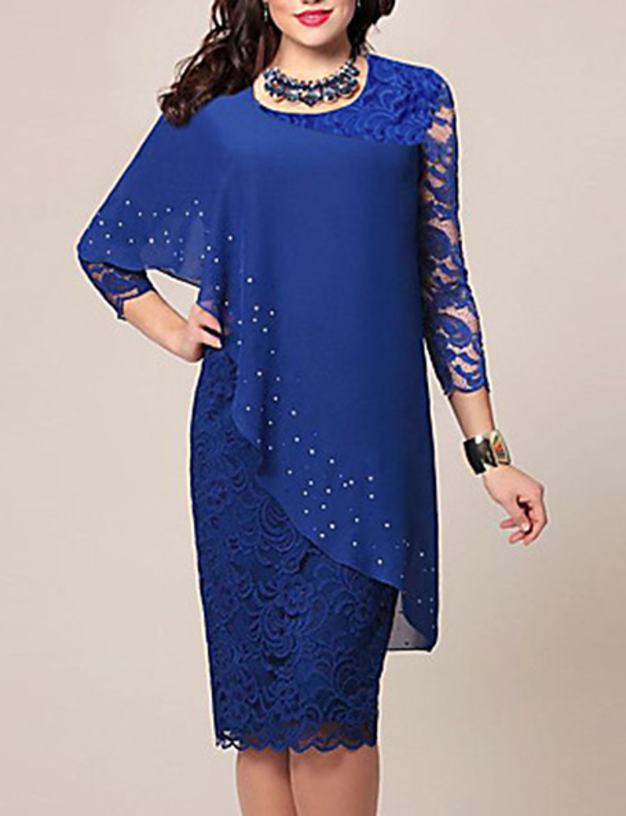 Women's Bodycon Knee Length Dress - 3/4 Length Sleeve Solid Color Lace Chiffon Spring Summer Plus Size Hot For Mother / Mom Going out Blue Green S M L XL XXL 3XL 4XL 5XL