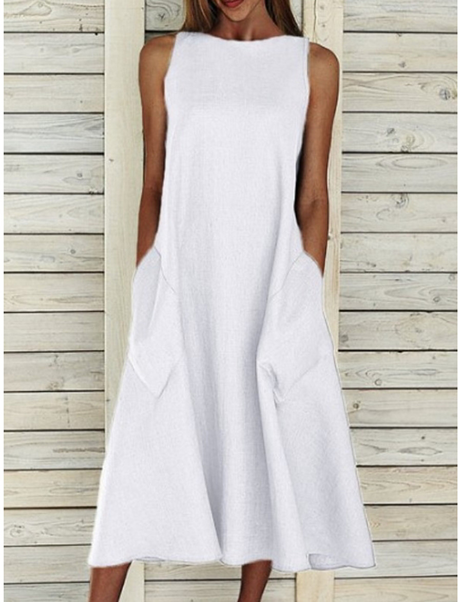Women's A Line Dress Midi Dress Blue Yellow Gray White Sleeveless Solid Color Pocket Summer Round Neck Basic Chic & Modern Hot Holiday Loose 2021 S M L XL XXL