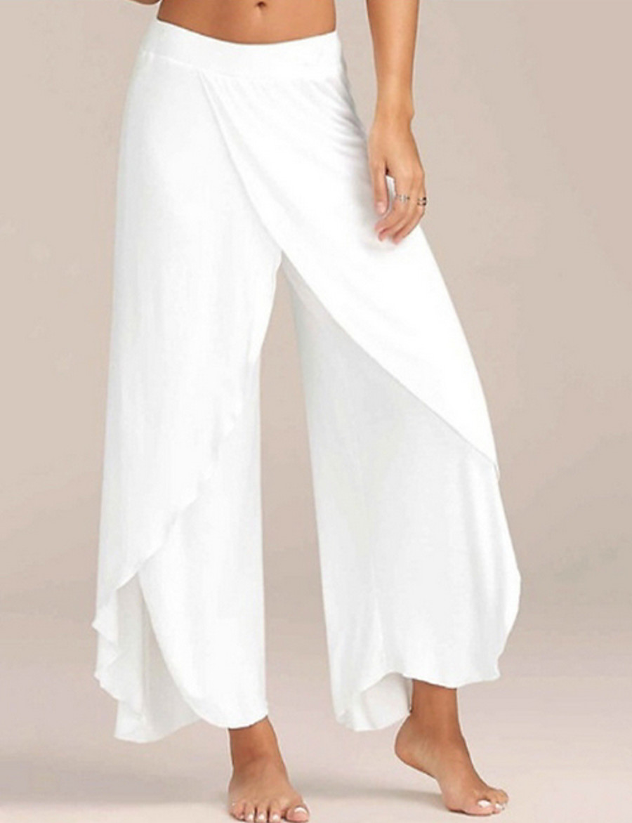 Women's Sporty Loose Wide Leg Pants Solid Colored White Black Blue