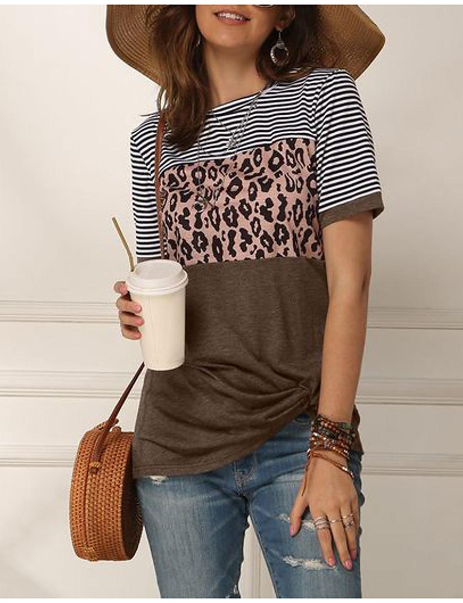 Women's T-shirt Color Block Round Neck Tops Basic Top Blue Blushing Pink Khaki