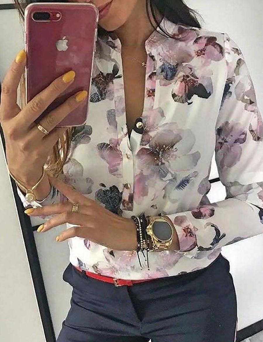 Women's Floral Shirt Daily Shirt Collar White