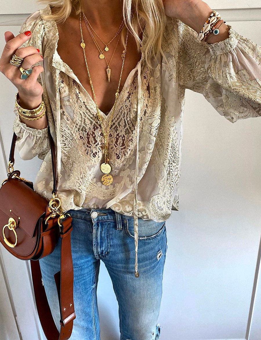 Women's Solid Colored Lace Embroidery Hollow Out T-shirt - Lace Daily V Neck Beige
