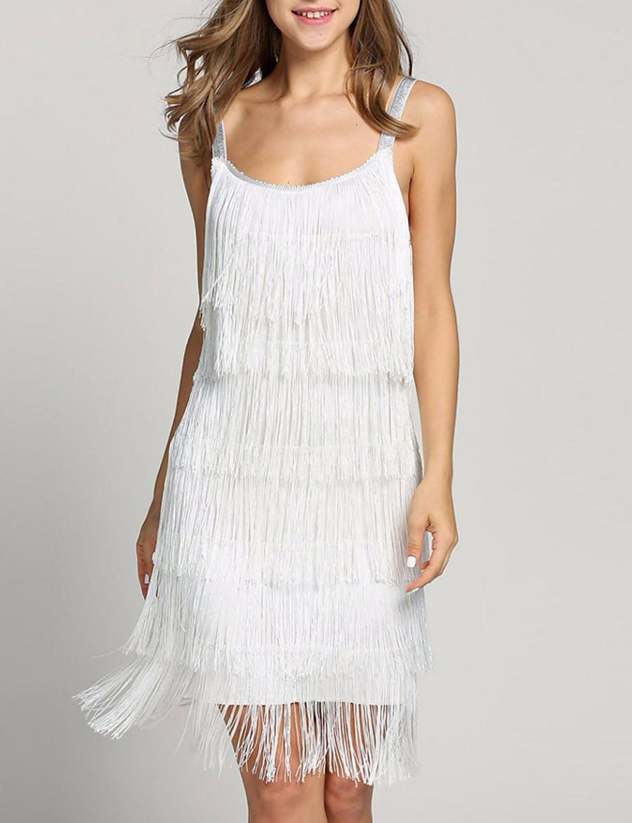 Women's Strap Dress Knee Length Dress - Sleeveless Solid Color White Black Silver S M L XL XXL 3XL 4XL 5XL
