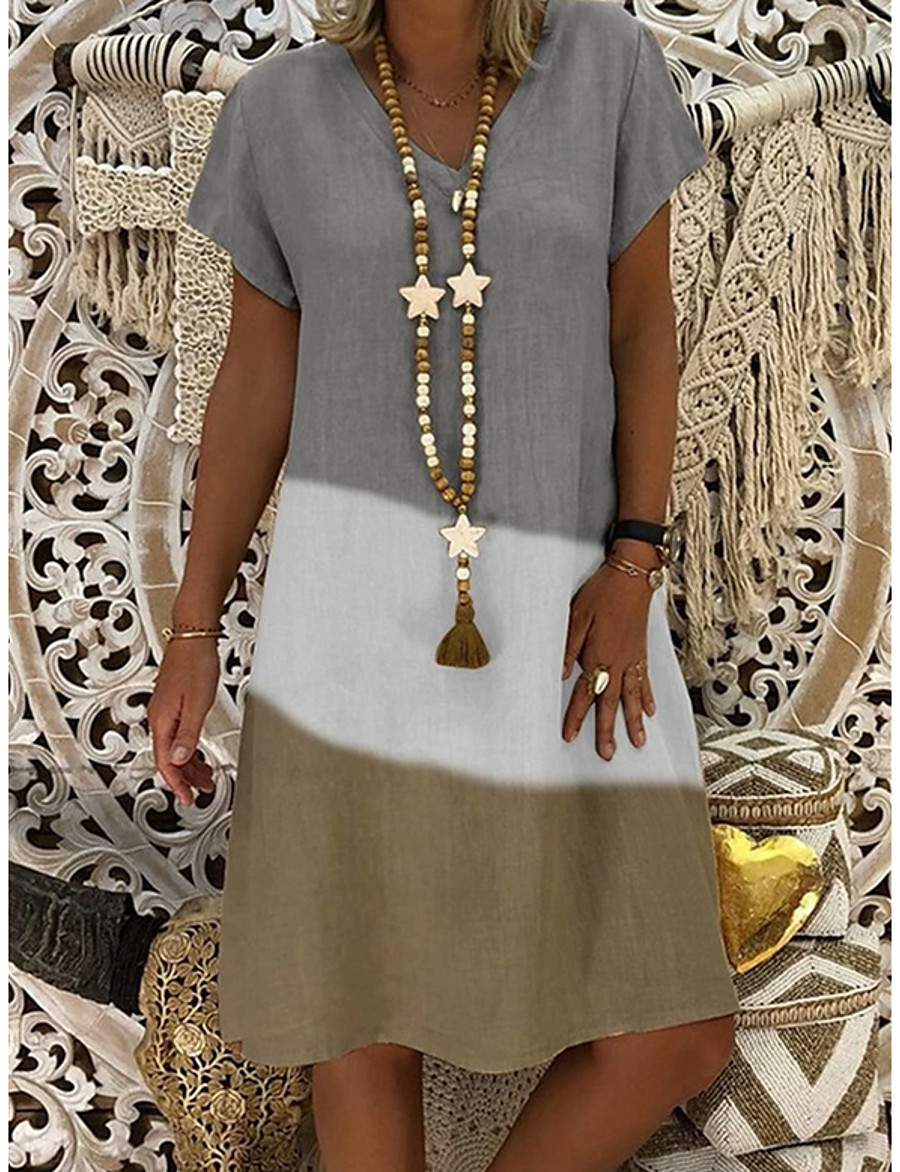 Women's A Line Dress Knee Length Dress Gray Black Red Short Sleeve Color Block Summer V Neck Hot Casual 2021 S M L XL XXL 3XL 4XL 5XL / Plus Size / Plus Size