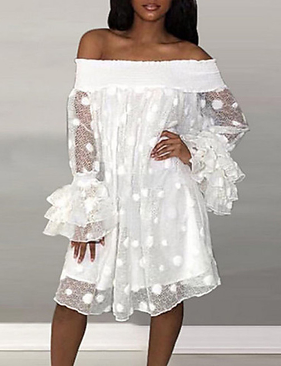 Women's Shift Dress Knee Length Dress - Long Sleeve Solid Colored Spring & Summer Off Shoulder Elegant Slim 2020 White S M L XL XXL 3XL