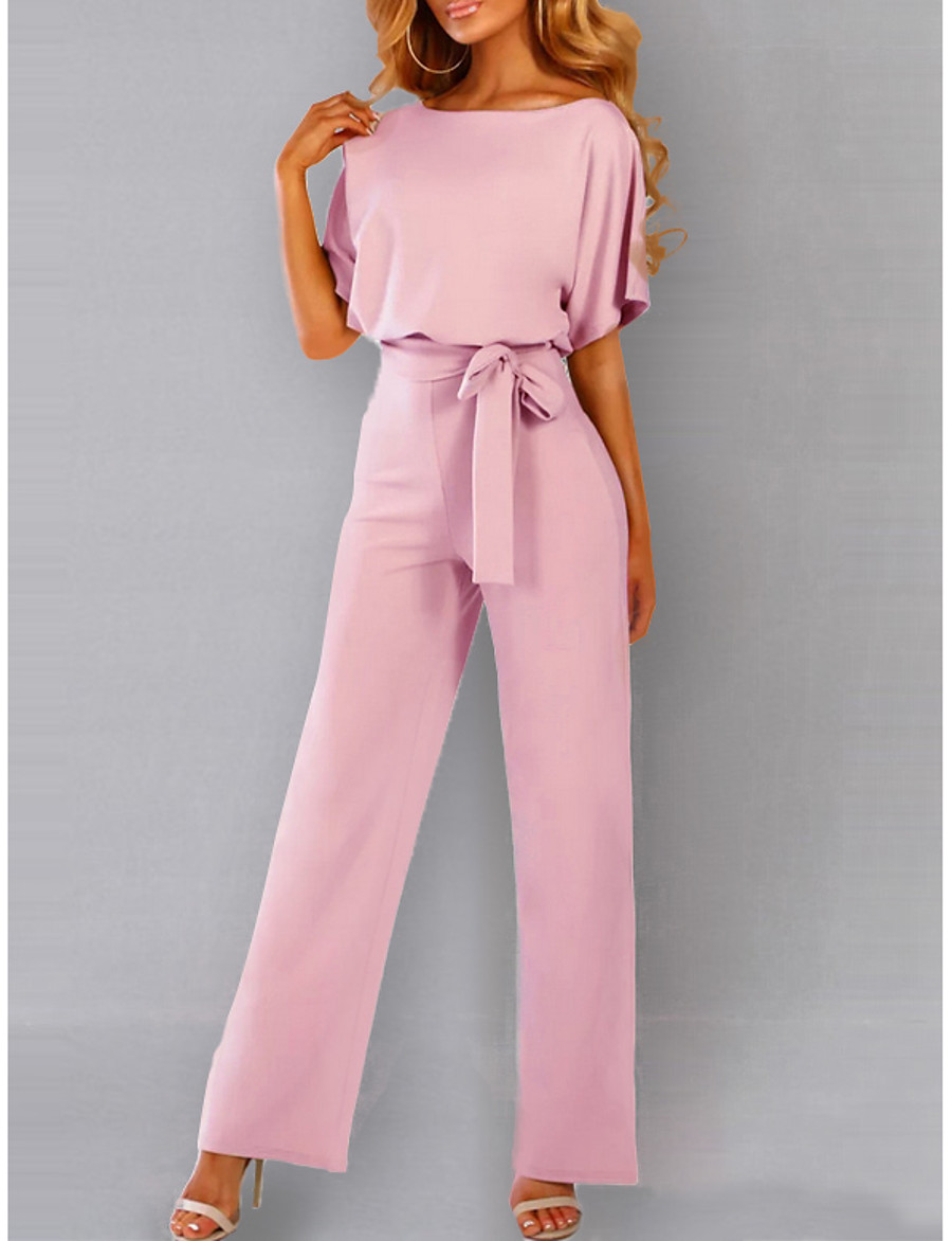 Women's Daily / Going out Elegant Black Blushing Pink Yellow Jumpsuit Onesie, Solid Colored Drawstring S M L Short Sleeve Summer