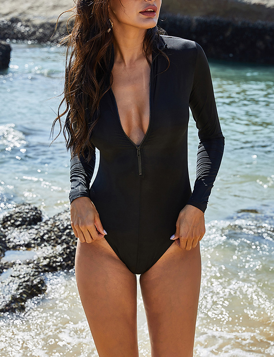 Women's One-piece Swimwear Swimsuit - Paisley Solid Colored S M L Black
