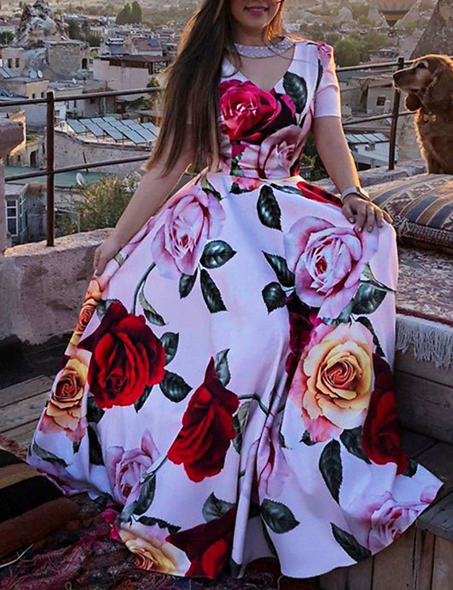 Women's Maxi A Line Dress - Short Sleeves Floral Print Floral Summer V Neck Vacation Beach Red S M L XL